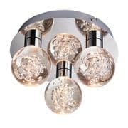 Versa 3 Light LED Bathroom Flush in Polished Chrome with Clear Bubble Shades IP44 - ENDON 76364