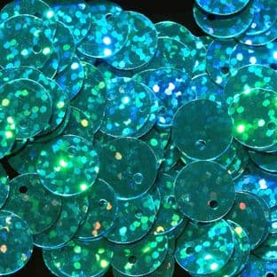 10mm Hologram Turquoise Flat Round Sequins