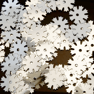 10mm Metallic Silver Rounded Snowflake Sequins x 10g