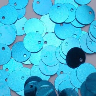 10mm Metallic Turquoise Flat Round Sequins.