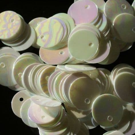 10mm Mother of Pearl Effect Iridescent Flat Round Sequins