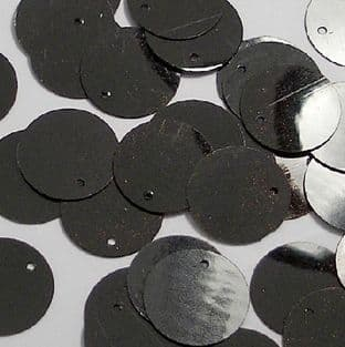 15mm Glossy Black Flat Round Sequins x 100