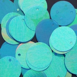 15mm Iridescent Blue/Green Flat Round Sequins x 100
