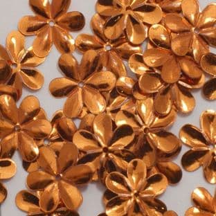 15mm Metallic Orange Flower Sequins x 150