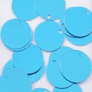 15mm Metallic Turquoise Flat Round Sequins x 100