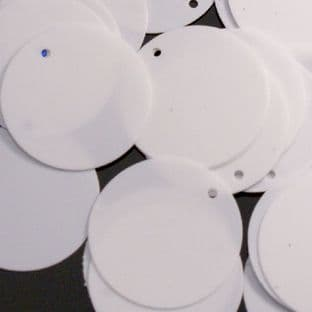 25mm Glossy White Opaque Penny Sequins x 100