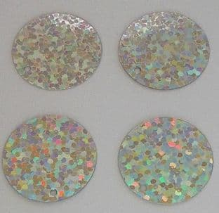 25mm Hologram Silver Penny Sequins x 100