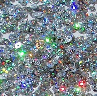 3mm Flat Round Hologram Silver Sequins x 5g