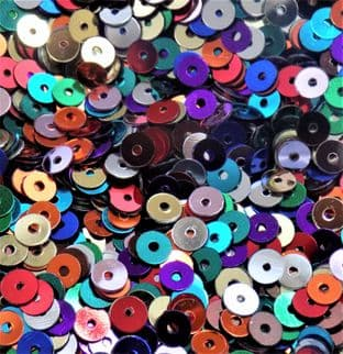 4mm Flat Round Sequins. Mixed Colour Pack x 10g