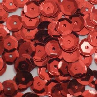 4mm Semi-cupped Metallic Red Sequins x 10g
