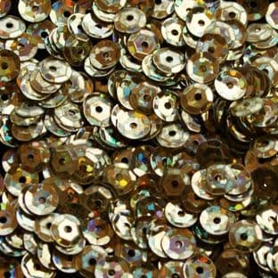 5mm Hologram Light Gold Semi-cupped Sequins.