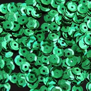 5mm Metallic Green Semi-cupped Sequins x 12g