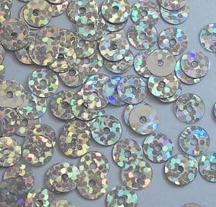 6mm Hologram Silver Flat Round Sequins x 15g