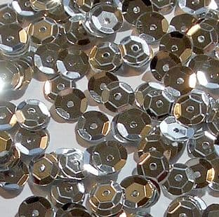 6mm Metallic Silver Semi-cupped Sequins x 12g