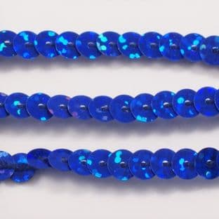 6mm Strung Sequins. Hologram Royal Blue x 5 metres