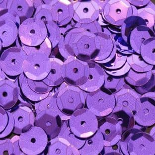8mm Metallic Purple Semi-cupped Sequins x 20g