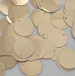 Bulk Bag 100g 15mm Flat Round Metallic Gold Sequins.