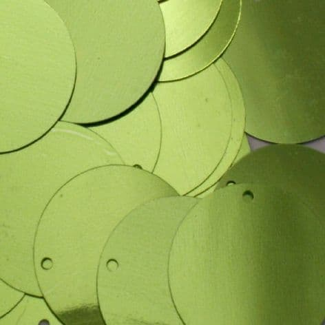 Bulk Bag 10mm Metallic Light Lime Green Flat Round Sequins x 100g