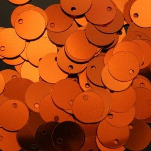 Bulk Bag 10mm Metallic Orange Flat Round Sequins x 100g
