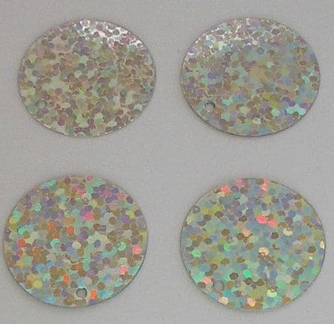 Bulk Bag Extra Large 40mm Silver Hologram Sequins x 250