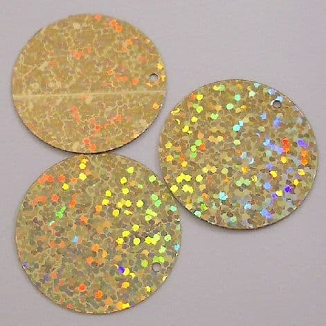 Bulk Bag  XXL 60mm Flat Round Hologram Gold Sequins x 250