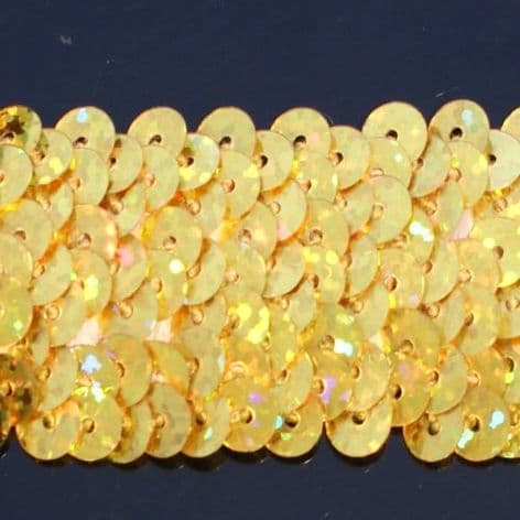 CLEARANCE 28mm Hologram Gold Stretch Sequin Braid. WAS £2.85