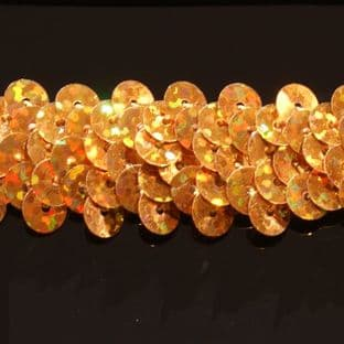DISCONTINUED 20mm Hologram Gold Stretch Sequin Braid. SAVE £1 metre