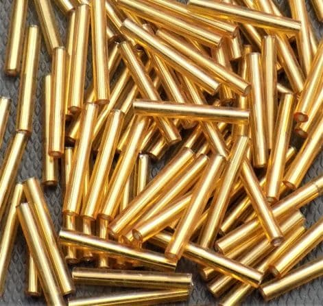 Extra Long 20mm Glass Bugle Beads. Gold Lined x 100