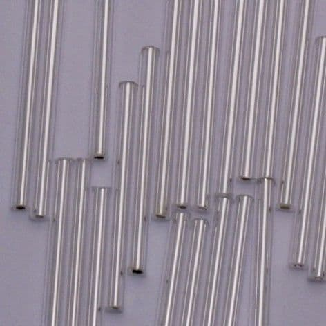 Extra Long 30mm Glass Bugle Beads. Silver Lined x 60.
