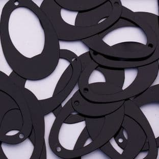 Glossy Black Oval Hoop Sequins x 200