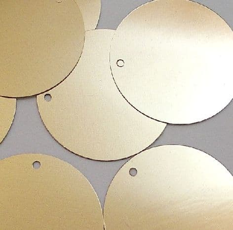Large 30mm  Metallic Gold Disc Sequins x 100