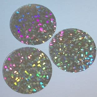 Large 30mm Silver Hologram Disc Sequins x 100
