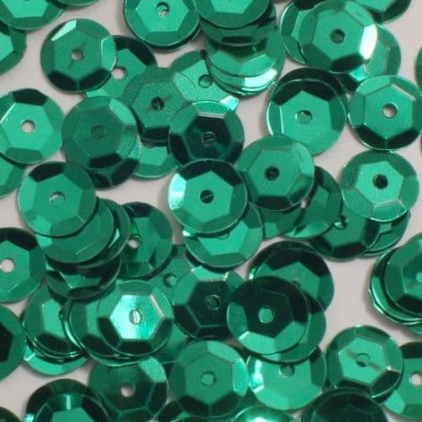 Large Pack 8mm Metallic Green Semi-cupped Sequins