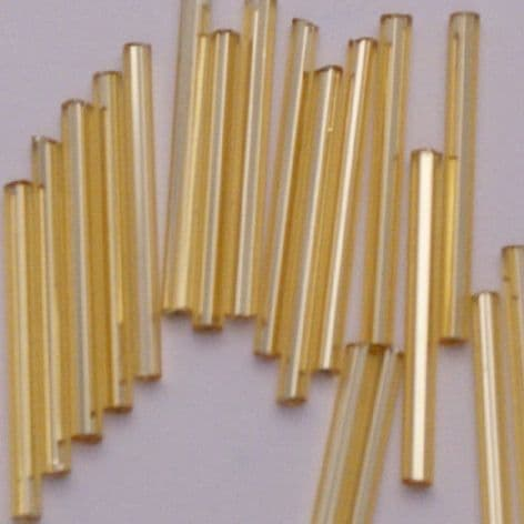 Large Pack Extra Long 30mm Glass Bugle Beads .Gold Lined x 300