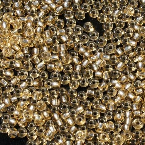 Large Pack Size 10 Preciosa Czech Glass Seed Beads. Gold with Silver Lining x 50g