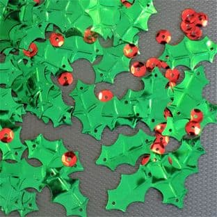 Metallic Green Holly Leaf Sequins x 120 now with round red 'berry' sequins