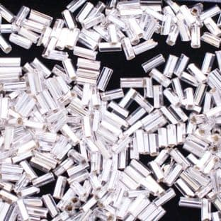 NEW Preciosa Czech 4.6mm Silver Glass Bugle Beads