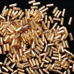 Preciosa Czech 4.6mm Glass Bugle Beads. Gold Lined.