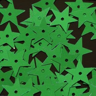 Value Pack 50g 15mm Metallic Green Star Sequins.