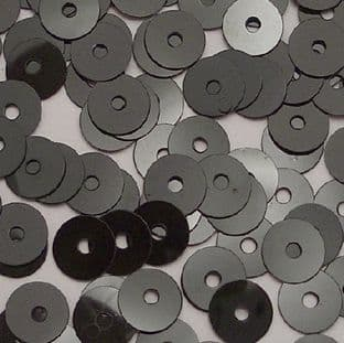 Value Pack 50g  6mm Glossy Black Flat Round Sequins.