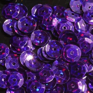 Value Pack 50g 8mm Hologram Purple Semi-cupped Sequins.