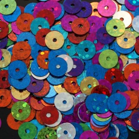 Value Pack 6mm Hologram Flat Round Sequins. Mixed Colour Pack x 50g