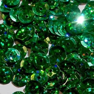 Value Pack 8mm Hologram Green Semi-cupped Sequins x 50g