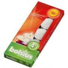 Bolsius 38mm Tealight Candles Unscented Plain White Tealights 4hr Burn Pack 10