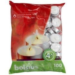 Bolsius 38mm Tealight Candles Unscented Plain White Tealights 4hr Burn Pack 100