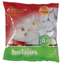 Bolsius 38mm Tealight Candles Unscented Plain White Tealights 4hr Burn Pack 30