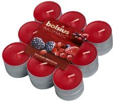 Bolsius Aromatic Tealight Candles Scented Tealights Berry Delight Fragrance Pack 18