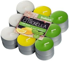 Bolsius Aromatic Tealight Candles Scented Tealights Citronella with Basil Fragrance Pack 18