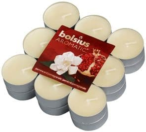 Bolsius Aromatic Tealight Candles Scented Tealights Jasmine and Pomegranate Fragrance Pack 18