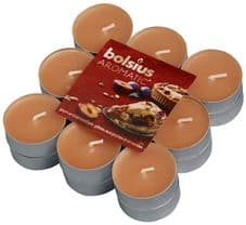 Bolsius Aromatic Tealight Candles Scented Tealights Plum and Almond Pie Fragrance Pack 18